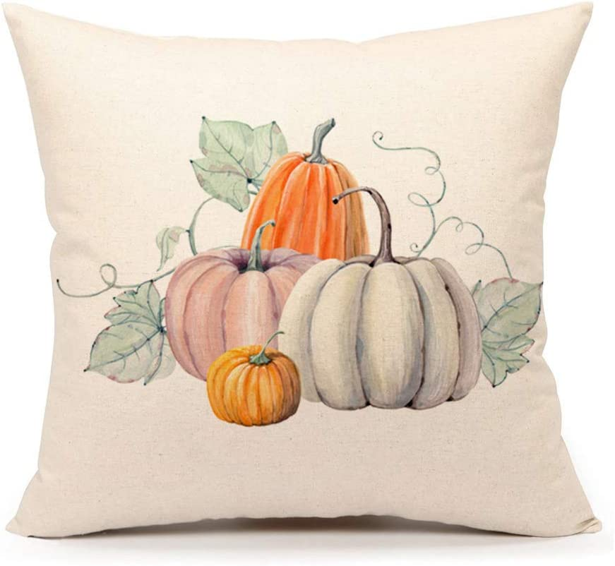 Amazon Com 4th Emotion Pumpkin Throw Pillow Cover Halloween Cushion Case 18 X 18 Inch Cotton Linen Autumn Fall Thanksgiving Home Decoration Home Kitchen