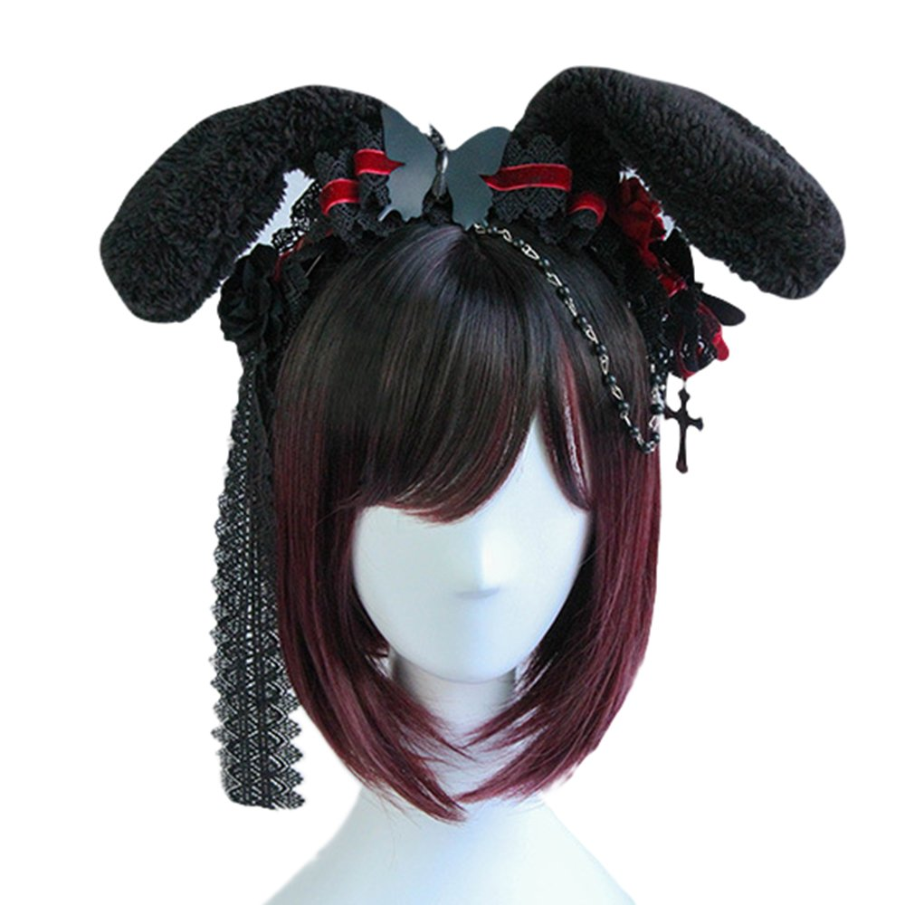 APE Cosplay Wig Accessory Lolita Black Bunny Ears Headband Women's Lolita Hair Accessory Hairpiece for Cosplaying TV/Film/Cartoon/Anime Characters, for Cosplay/Party/Performance APE ABC