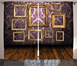 Lunarable Antique Curtains, Old Styled Interior Wall with Classic Picture Frames with Damask Pattern, Living Room Bedroom Window Drapes 2 Panel Set, 108 W X 63 L inches, Mauve Yellow Brown