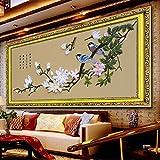 Aureate Handmade Silk Ribbon Embroidery Kits Canvas 3D Wall Art Home Decoration DIY Needlepoint Tapestry Hanging Gift Spiring Birds 16''×37''