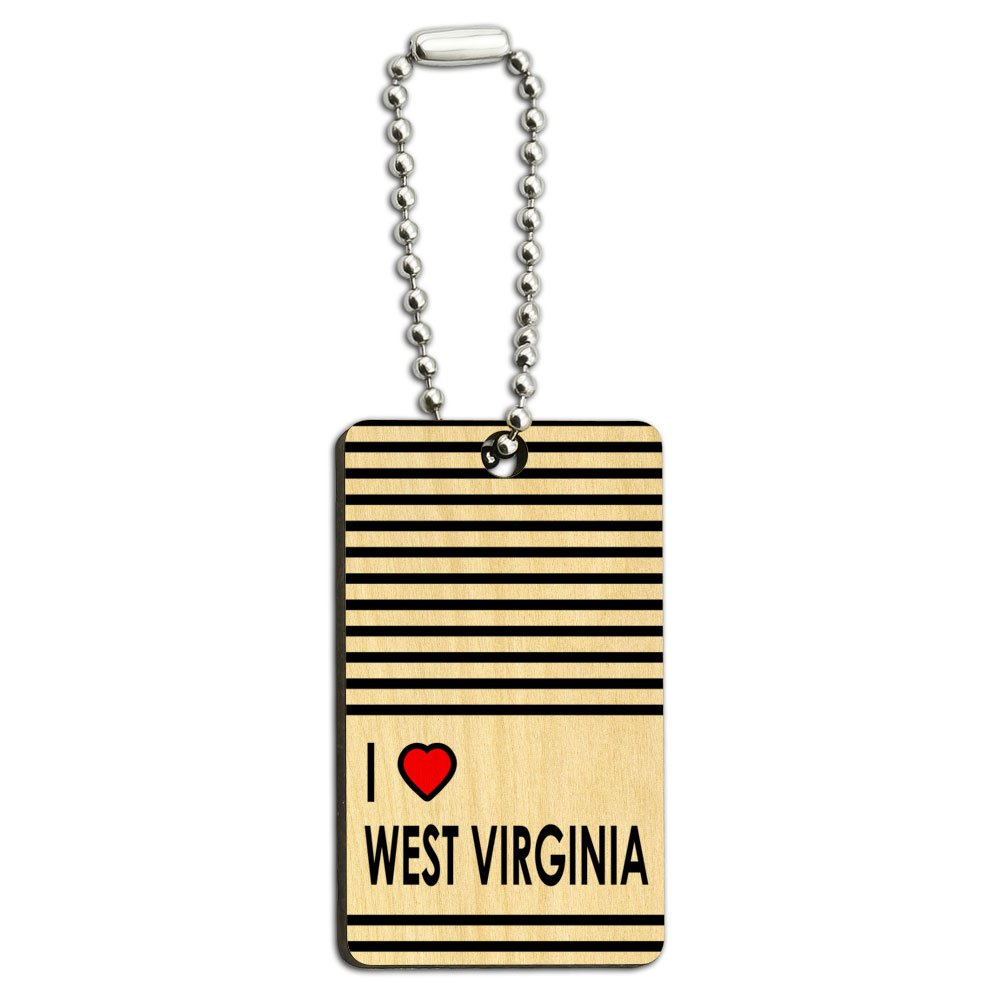 I Love Heart West Virginia Wood Wooden Rectangle Key Chain
