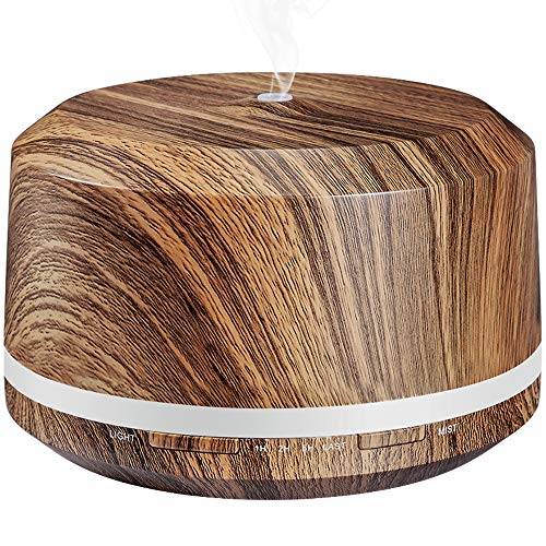 Essential Oil Diffuser 450ml, BAXIA TECHNOLOGY Aromatherapy Diffusers for Essential Oils Ultrasonic Humidifiers with Timer, Waterless Auto Shut-off for Large Room Office Yoga Spa (Dark Wood Grain)