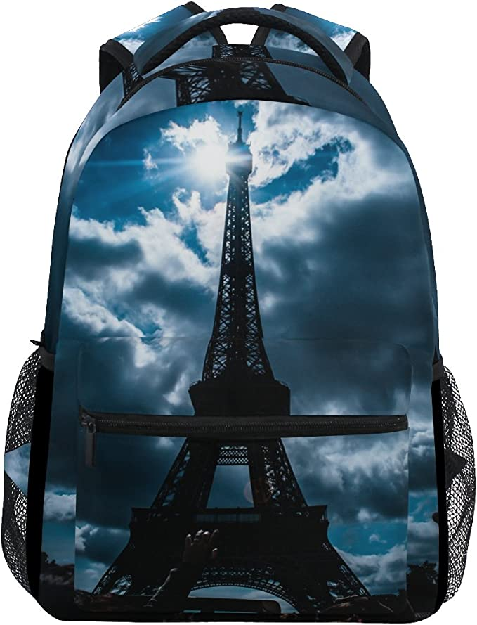 Paris Eiffel Tower Laptop Backpack Bookbag Red Umbrella Street Travel Backpacks Casual Daypack Workbag Shoulders Bag Sports Bags for Women Men Working Hiking Outdoor
