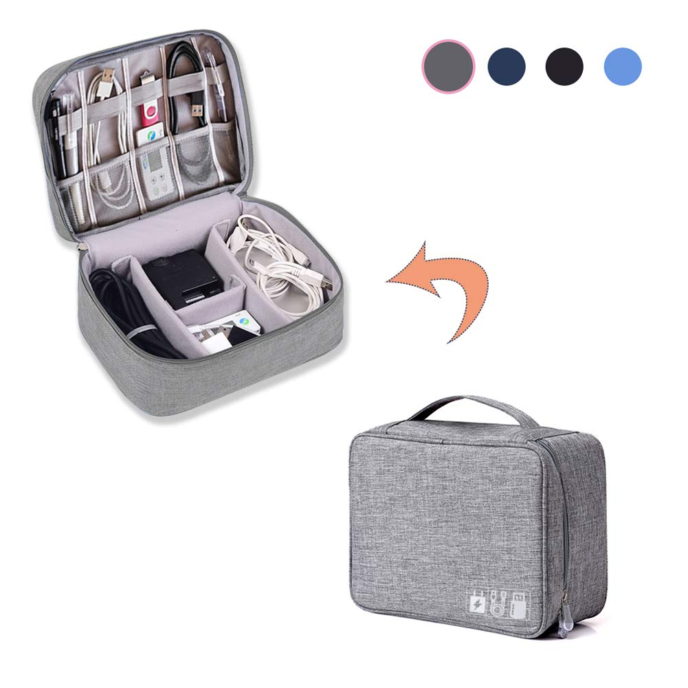 Travel Accessories Gadget Organizer Bag (Grey) - Travel Bag for Portable Charger, SD Card, USB Cable, Flash Drive, Ipad Mini, Cable Management Gifts for Men and Women, Portable Gadgets and Tech Bag by GUOHAN (Image #1)