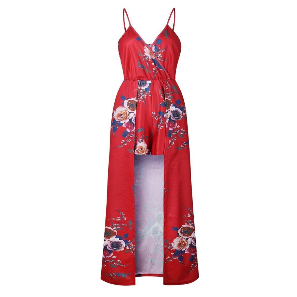 Yesmile 💋💝Vestido de Mujer Vestido de Estampado Vestido Elegante de Noche para Boda Fista Vestido Ajustado de Manga Larga Floral Casual de Mujer (Rojo A, ...