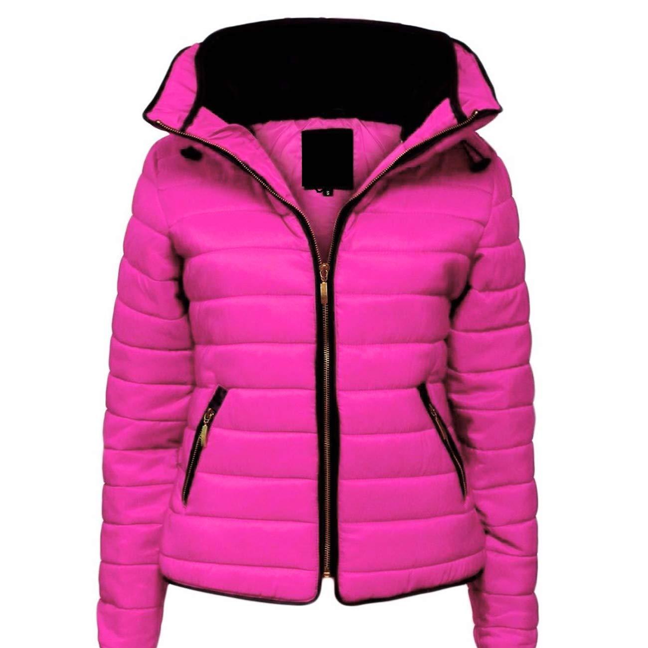 Malaïka ® pour femme matelassé rembourré Doudoune Bubble col en fourrure chaud épais Manteau Veste pour Femme,Jaune,S