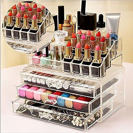 Caja organizadora de acrílico transparente con cajones para cosméticos, joyas y maquillaje: Amazon.es: Hogar