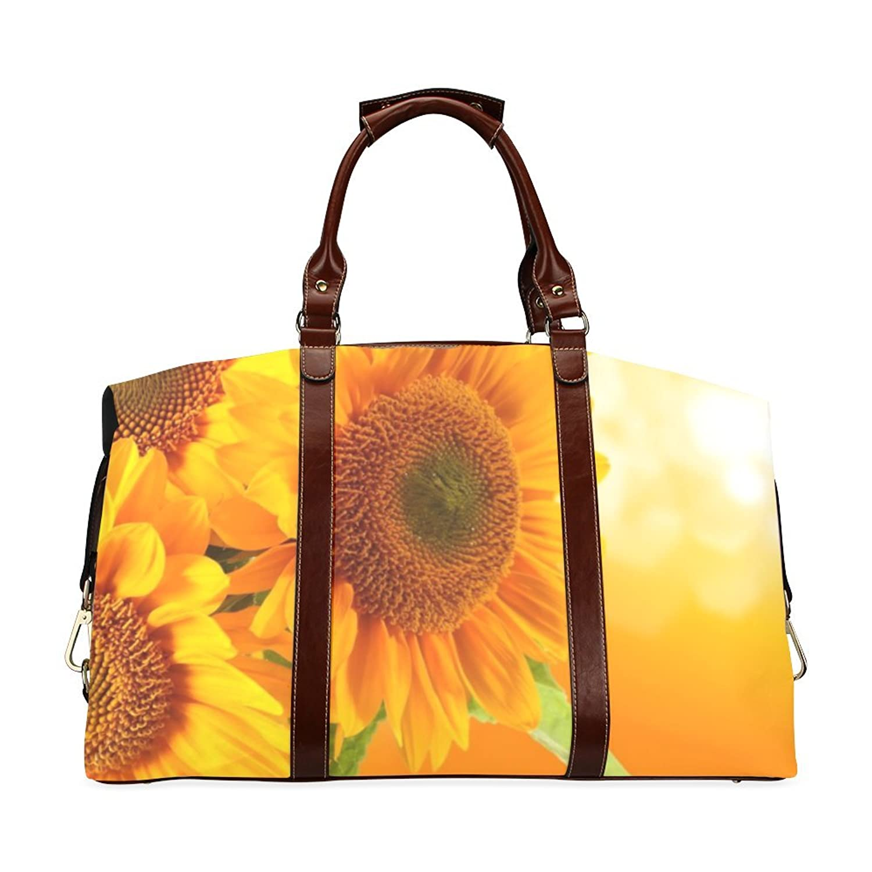 Sunflowers Custom Waterproof Fabric Two-sided Printing Flight Bag