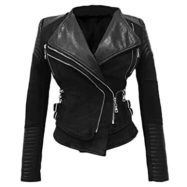 She Smoda Suede Padded Shoulder Leather Jacket For Women Slim Fit