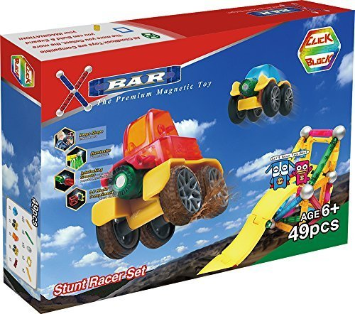 X-Bar Translucent Magnetic Bars and Steel Spheres, 49 Piece Stunt Racer Set