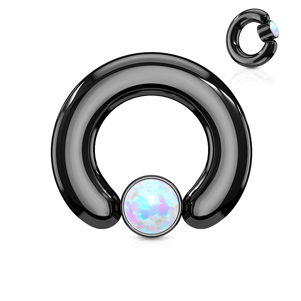 Dynamique White Synthetic Opal Set Round Flat Cylinder Captive Ring Black IP 316L Surgical Steel