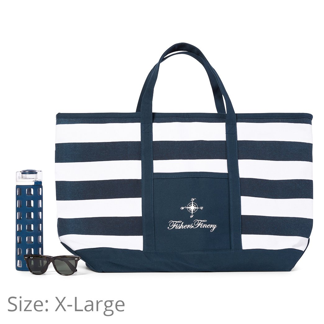 Fishers Finery Canvas Tote with Zipper and Lining with interior Pockets; Multi Sizes and Colors (Navy, S) by Fishers Finery (Image #9)