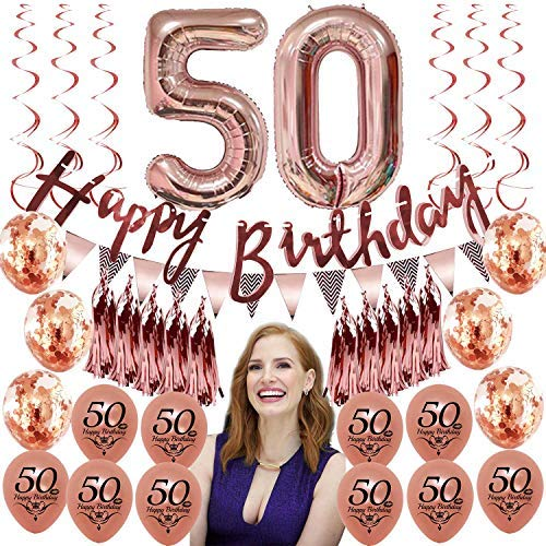 50th Birthday Decorations for Women Her Supplies Rose Gold Favors Party Decor Kit