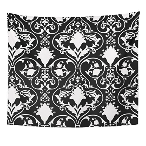 Breezat Tapestry Fleur Antique Scroll and Lis Black Lys White Home Decor Wall Hanging for Living Room Bedroom Dorm 50x60 Inches