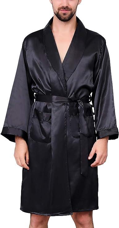 Men Satin Robe Luxurious Silk Spa Long Sleeves House Kimono Bathrobe 1 XL