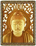 Gold Buddha Tapestry Throw Blanket