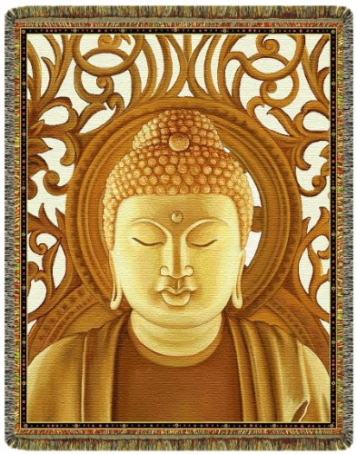 Gold Buddha Tapestry Throw Blanket by Circles of Light Imports