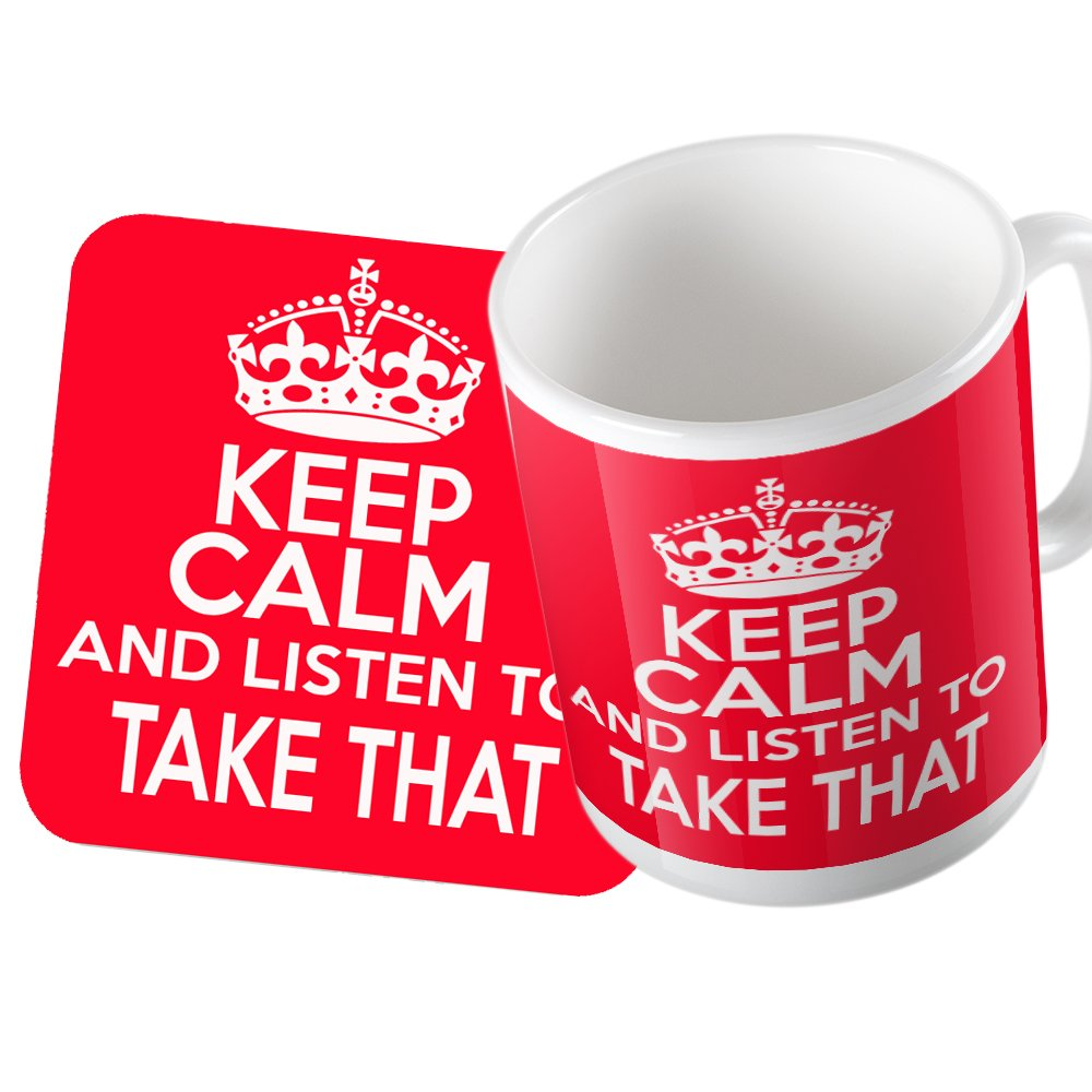 KEEP CALM AND LISTEN TO TAKE THAT MUG AND COASTER SET GIFT SMS TOGETHER