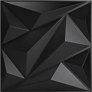 Art3dwallpanels PVC 3D Wall Panel Diamond for Interior Wall Décor in Black, Wall Decor PVC Panel, 3D Textured Wall Panels, Pack of 12 Tiles