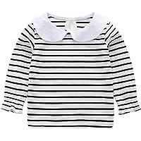 Mornyray Baby Kids Girls' Peter Pan Collar T-Shirt Casual Long Sleeve Tee