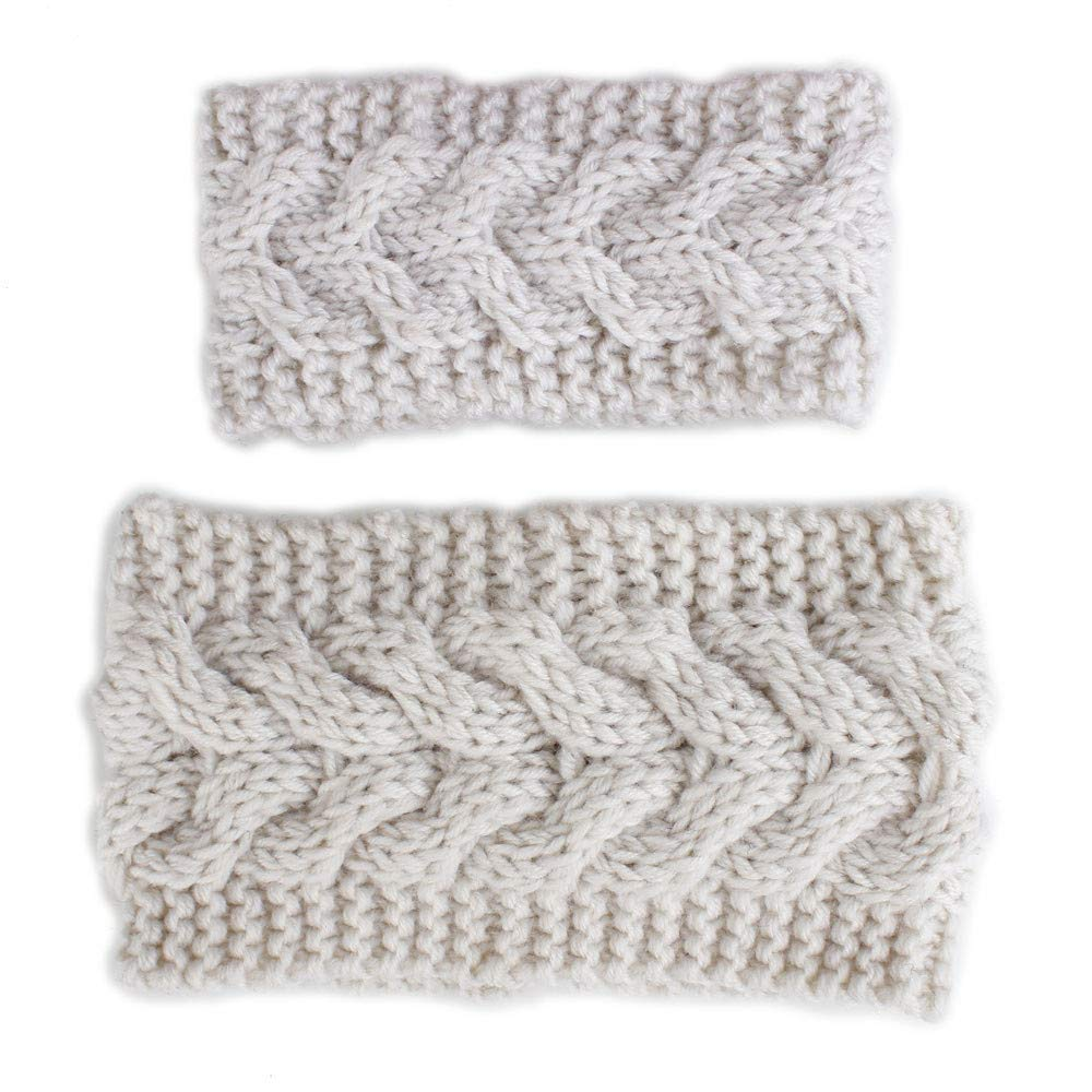 NUWFOR 2PCS Mom&Me Warm Winter Crochet Knitted Headband Phtography Props Accessories Beige