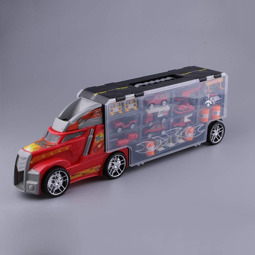 KESOTO Mini Ziehen Auto Spielzeug Diecast Legierungs Behälter LKW Anhänger LKW Zurü - Rot Rot