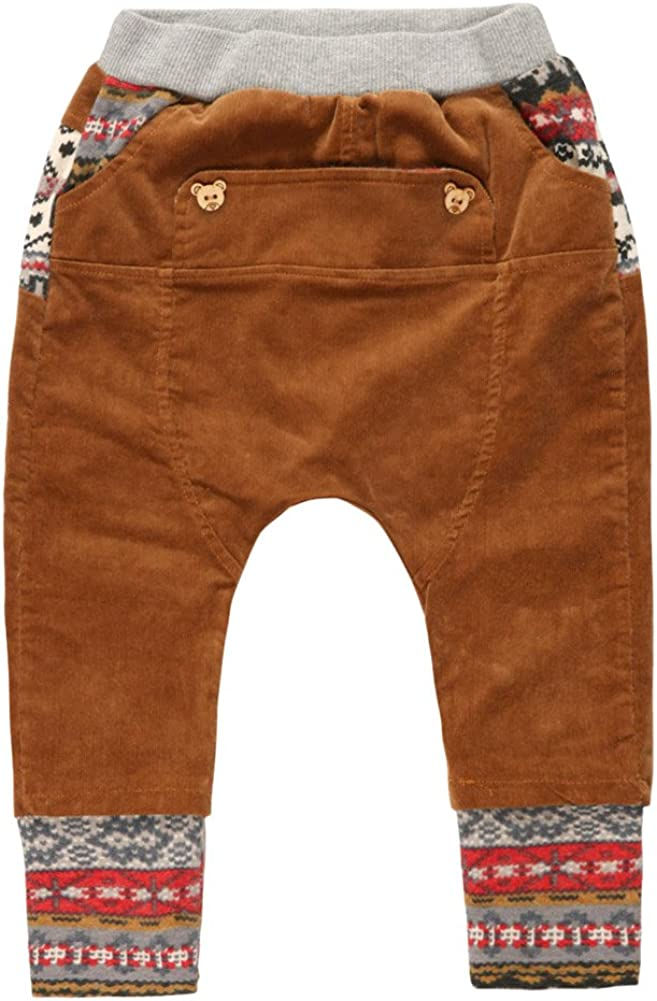 eTree Boys Corduroy Cotton Knitting Bottom and Waist Baggy Collapse Pants