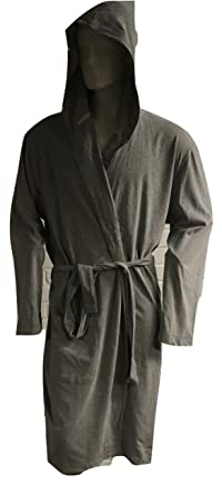 John Lewis Mens Cotton Bath Robedressing Gown Grey Large Hooded