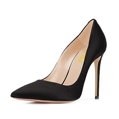 05e19254d3df FSJ Women Elegant Satin High Heels Pumps Pointed Toe Stilettos Slip On  Formal Shoes Size 4