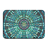 Spiral Tie Dye Mandala Green Bath Mat - 1 Piece Memory Foam Shower Spa Rug 18x36 Bathroom Kitchen Floor Carpet Home Decor With Non Slip Backing - 3 Sizes