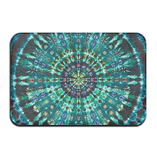Spiral Tie Dye Mandala Green Bath Mat - 1 Piece Memory Foam Shower Spa Rug 18x36 Bathroom Kitchen Floor Carpet Home Decor With Non Slip Backing - 3 Sizes by BesArts