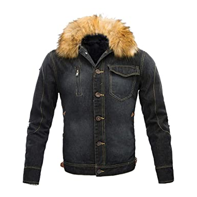e4341dee2b1f Sanfte Jeansjacke Herren Winter Denim Jacket Gefütterte Jeans Jacke  Fellfutter Warme Winterjacke (Schwarz, M