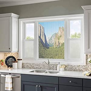MDOUWoo Anti-UV Window Sticker Apartment Decor,El Capitan Half Dome and Bridalveil Falls Tourist Attractions Landscape Decoration,Green Blue 21.6X78.7inch Block Out Light Window Film