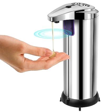 Dispensador de Jabón, AUKUYEE Dispensador de Jabón Líquido Automático Acero Inoxidable con Sensor Infrarrojo sin Contacto Resistente al Agua ...