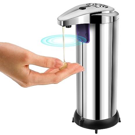 Dispensador de Jabón, AUKUYEE Dispensador de Jabón Líquido Automático Acero Inoxidable con Sensor Infrarrojo sin