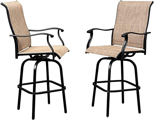 Cheap VINGLI Upgraded 2PCS Outdoor Swivel Bar Stools Bar Height Patio Chairs outdoor bar stool for sale