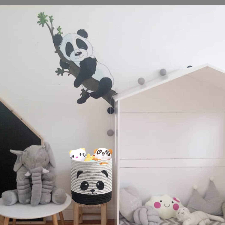 W/äschekorb Faltbare Kinder Aufbewahrungsbox f/ür Spielzeug Kinderzimmer Dekokorb Panda Baumwolle Seil Korb Baby Aufbewahrungsk/örbe