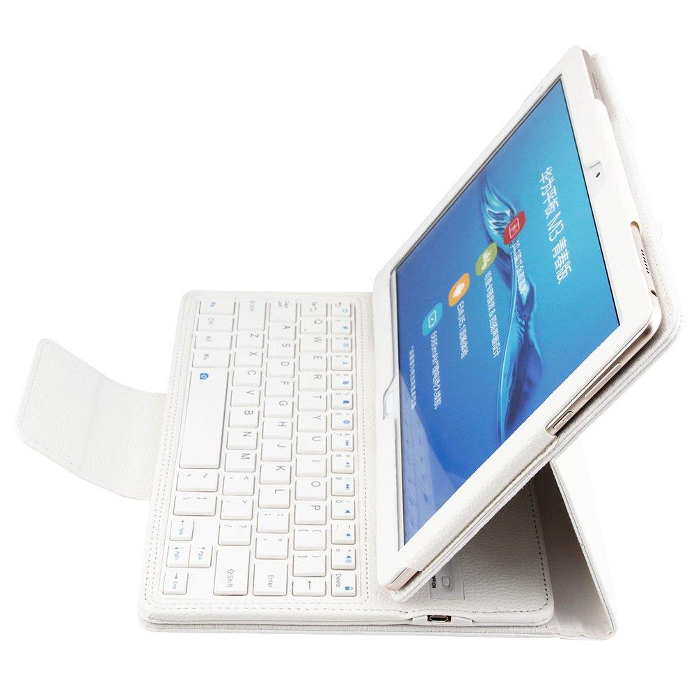 Huawei MediaPad M3 Lite 10 con funda tipo folio, funda para teclado y elegante funda protectora de piel, con teclado bluetooth extraíble: Amazon.es: ...