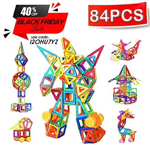 CRENOVA Mini Magnetic Building Blocks 84pcs Magnetic Tiles Set Creative and Educational Toys for Toddlers/Kids with Storage Bag
