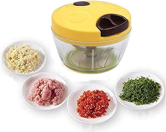 Opinión sobre Wonepic 900ml Manual de Alimentos Chopper Cocina Ajo corte de la máquina Picadoras De Carne picada ensalada de los vehículos Procesador cortador de cocina Batidora mezcladora de alimentos Yellow