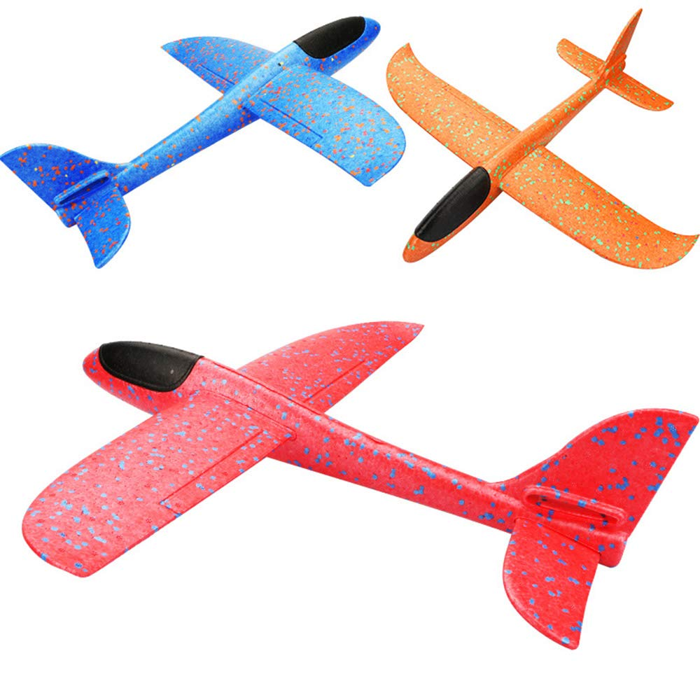 3PCS Glider Plane Toy Set for Kids 18 Inches by Deerbb, Hand Throw Flying Foam Airplane Toys, Aircraft Fun Best Outdoor Fun for Toddler Children Boys Girls, 3 Models Red Blue Orange by Deerbb