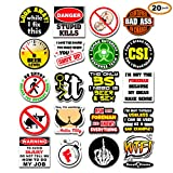 20-Pack Funny Hard Hat Stickers | Premium Quality Laminated Vinyl | Hilarious Joke Decal Sticker for Construction Worker Electrician Welder Carpenter Plumber Foreman | Great for Hardhat Toolbox Cooler