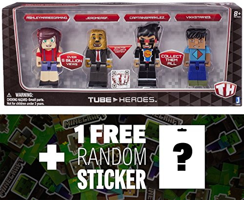 AshleyMarieeGaming, JeromeASF, CaptainSparklez, Vikkstar123: Tube Heroes 4-Mini Action Figure Pack Series + 1 FREE Official Minecraft Mini-Sticker Sheet Bundle