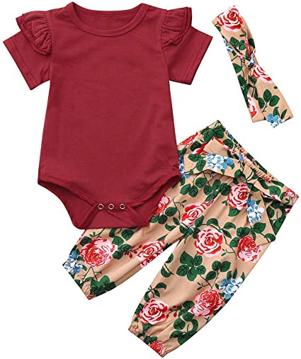 Toddler Baby Girls Solid Jumpsuit Romper+Floral Print Pants+Headband Outfits