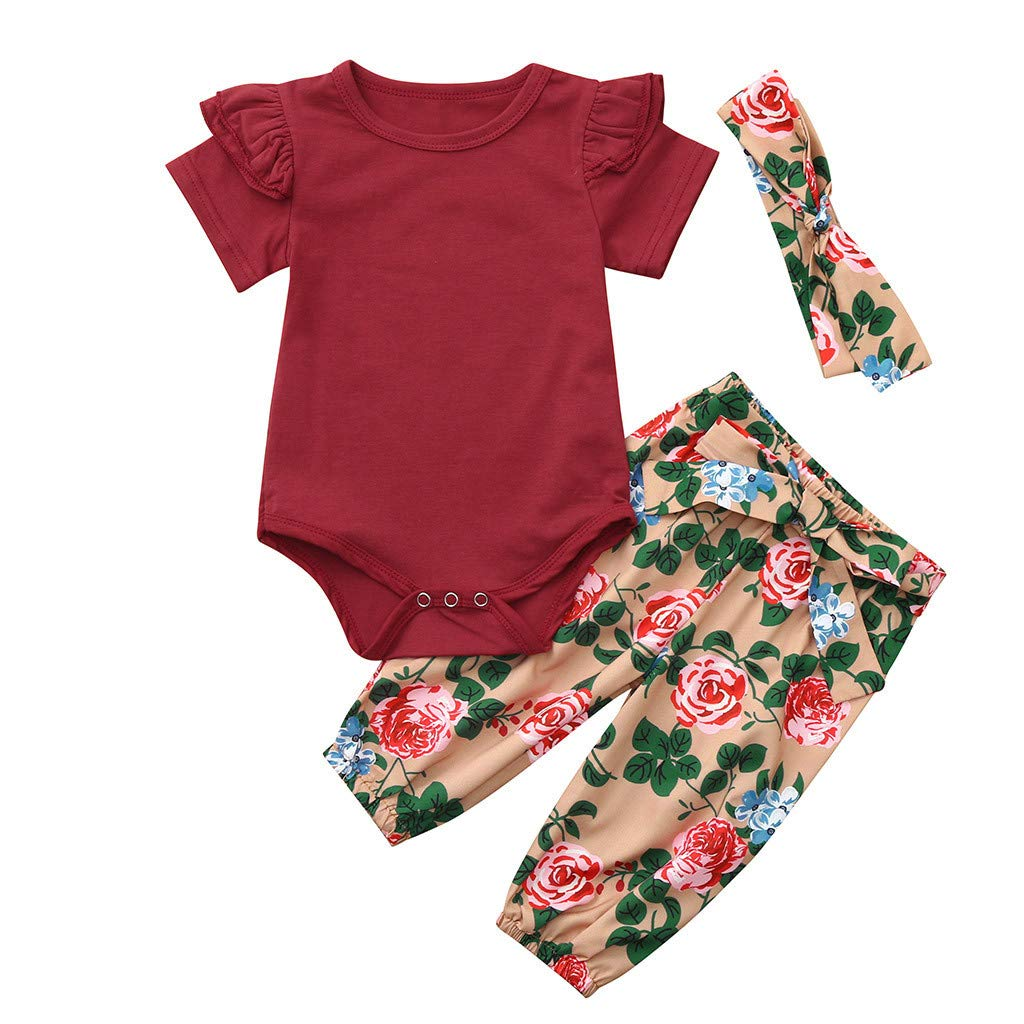 Ocean Romper+Floral Print Pants+Headband Outfits Infant Baby Boys Girls Solid Jumpsuit