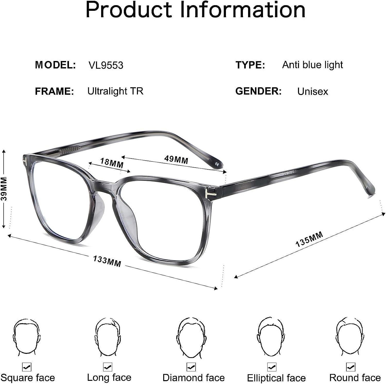 VANLINKER Blue Light Blocking Glasses Square Anti UV Computer Eyeglasses Lightweight Frame For men VL9553 ENCORE