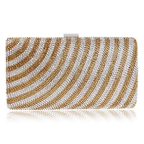 Bolso de la tarde del embrague rayado de las mujeres bolso exquisito del hombro de las señoras exquisitas bolso del mensajero (Color : Multicolor 1) Gold