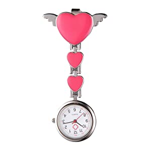MultiWare Fob Watch Stainless Steel Heart Medical Nurse Quartz Tunic Pocket Clip-on Brooch