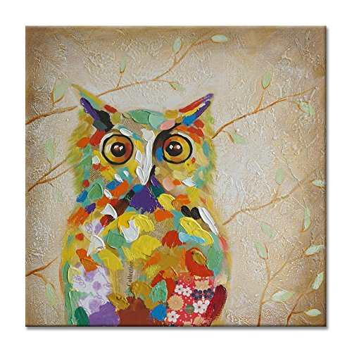 SEVEN WALL ARTS - 100 % Hand Painted Oil Painting Animal Colorful Birds Painting with Stretched Frame Wall Art for Home Decor Ready to Hang (40 x 40 Inch, Colorful Owl) by SEVEN WALL ARTS