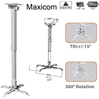 Maxicom Heavy Duty - 2 Feet Projector Ceiling Mount Stand Bracket (M447 - White - Weight Capacity : 15 Kgs)